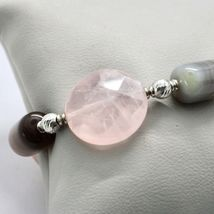 SILVER 925 BRACELET LAMINATED GOLD PINK WITH QUARTZ ROSE AND CHALCEDONY image 4