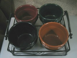 Lot of 4 Pottery Condiment or Nut Bowls w/Metal Serving Tray - Great for... - $34.64