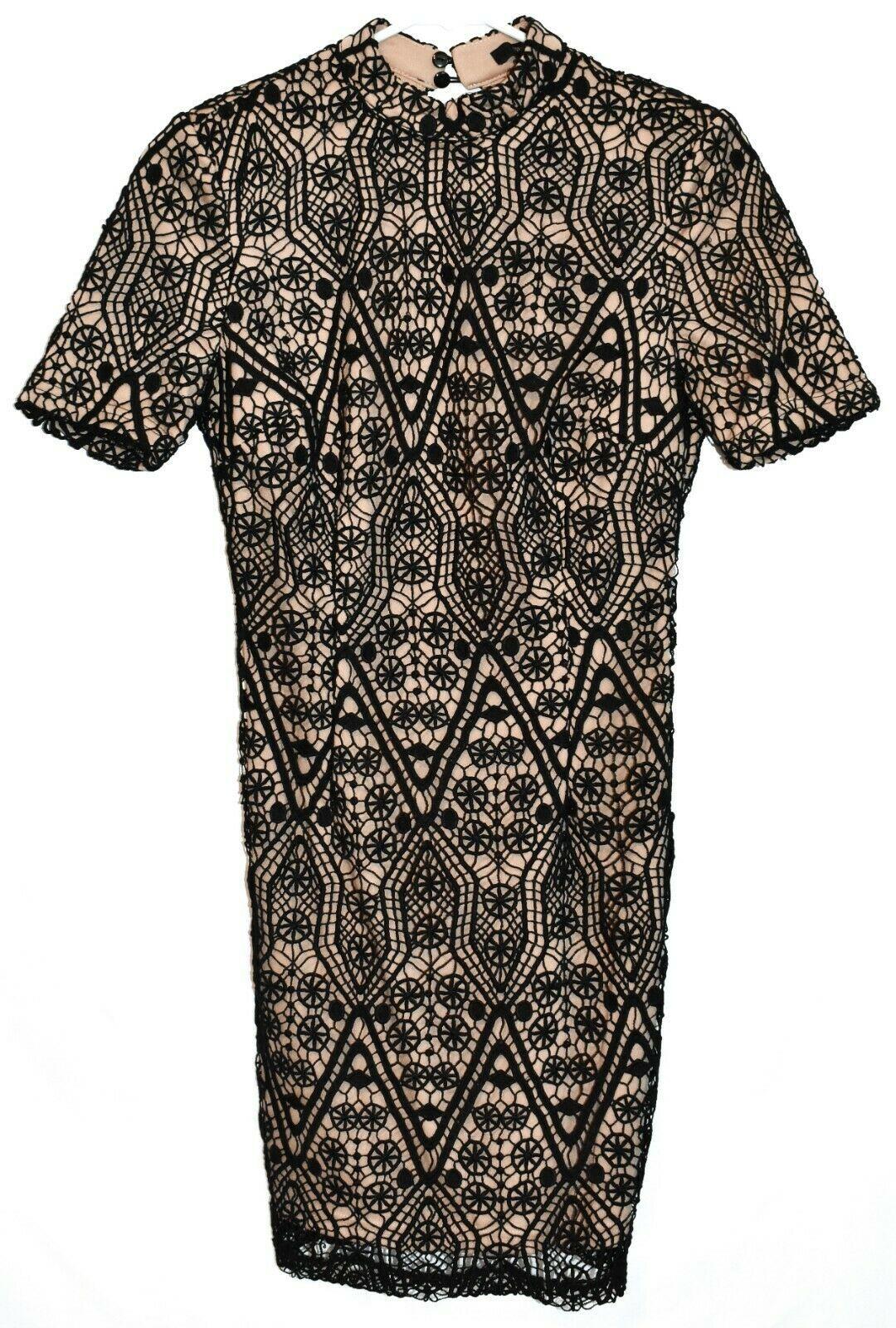 Forever 21 Women's Black Crochet Lace Overlay Open Back Padded Shoulder Dress S