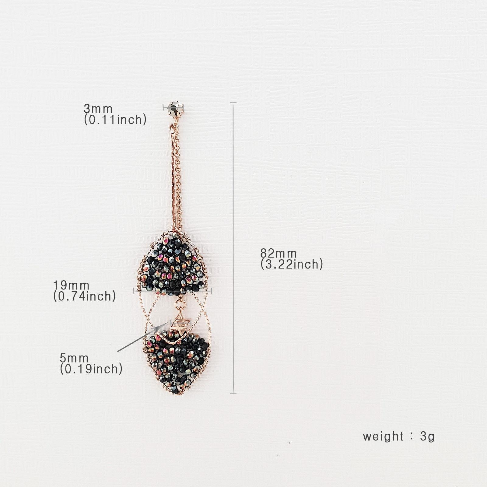 Handmade Oval Ellipse Made With Swarovski Stone Drop Dangle Earrings Brass E201 image 9