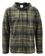 Men's Casual Flannel Zip Up Fleece Lined Plaid Sherpa Hoodie Lightweight Jacket image 11