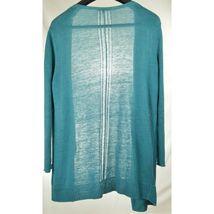 Eileen Fisher sweater cardigan SZ L teal 100% linen knit pockets soft long s image 9