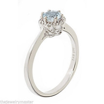 AQUAMARINE HALO RING BRILLIANT ROUND 5mm 925 STERLING SILVER .41 CARATS ... - £76.05 GBP