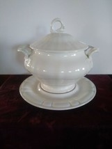 Vintage 1959 N S Gustin Co Ceramic 3 Piece White Soup Tureen California ... - $46.74