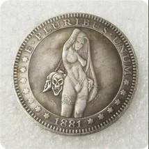 Two pcs Morgan Dollar Sexy Anime Naked Woman Standing Hobo Nickel 1881 N... - $17.00