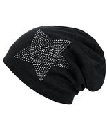 Unisex Men Women Classic Star Rhinestone Slouch Beanie Cap Cotton Hat Black - $7.87