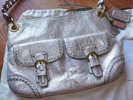 Coach Poppy Metallic Leather Whipstitch Hippie Convertible Bag 19014 Platinum image 2