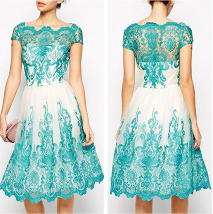 Primary image for Women's Short Lace Evening Dresses Square Neck Short Sleeves Party Dresses 2018