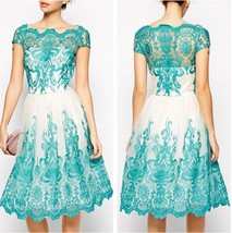 Women's Short Lace Evening Dresses Square Neck Short Sleeves Party Dress... - $118.99