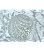"""Hanging Glass Ball 4"""" Clear Glass with Frosted White Swirls (1) HB51-3 - $13.86"""