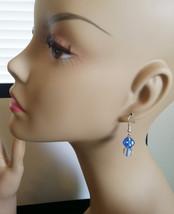 dice bead earrings cats eye blue beaded dangle drop glass plastic jewelr... - $4.50