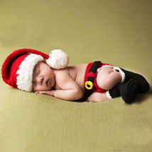 Baby Infant Christmas Costume Crochet Knit Photography Props Sets 0-12 M... - $28.16