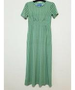 WearADress Womens Long Dress Size S Green Pattern Stretch Short Sleeve S... - $17.64