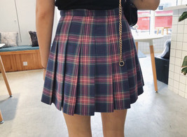 Purple Plaid Skirt Women Girls Plaid Pleated Mini Skirt Outfit Plus Size image 4