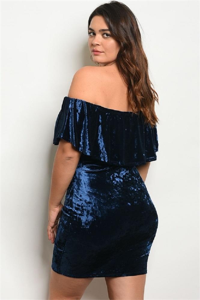 Blue Plus Size Short Sleeve Off Shoulder Ruffled Velvet Dress