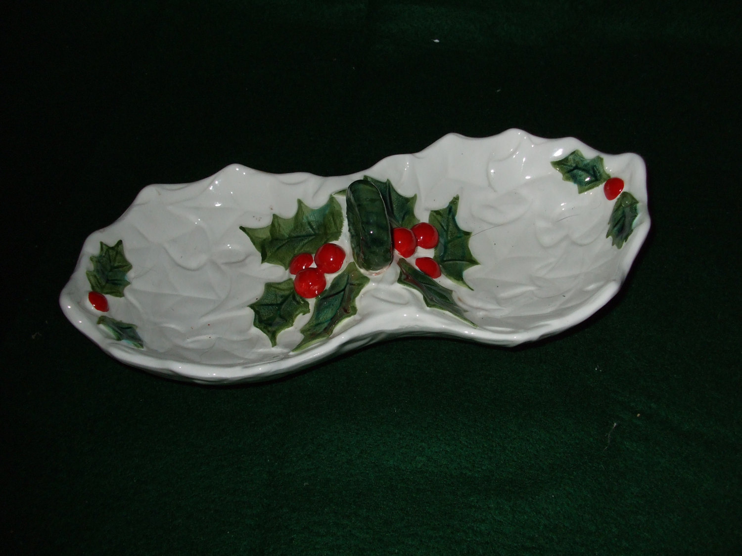 Lefton China White Holly Two Compartment Dish