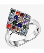 Multi Stone Fire Opal Diopside Tanzanite Amethyst  Ring 1.30 carat Size 5  - $93.93