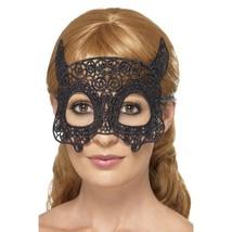 Embroidered Lace Filigree Black Devil Eyemask - $5.69