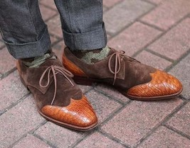 Handmade Men Brown Leather & Suede Wing Tip Crocodile Texture Dress Oxford Shoes image 5