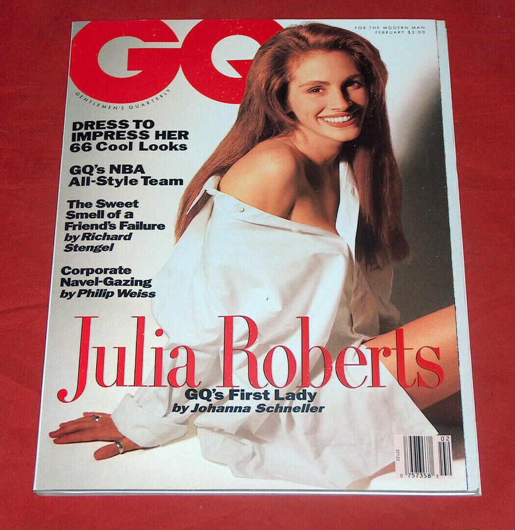 Primary image for Raro Gq Rivista Febbraio 1991 Julia Roberts Gq's First Lady Cover VG Cnd Look