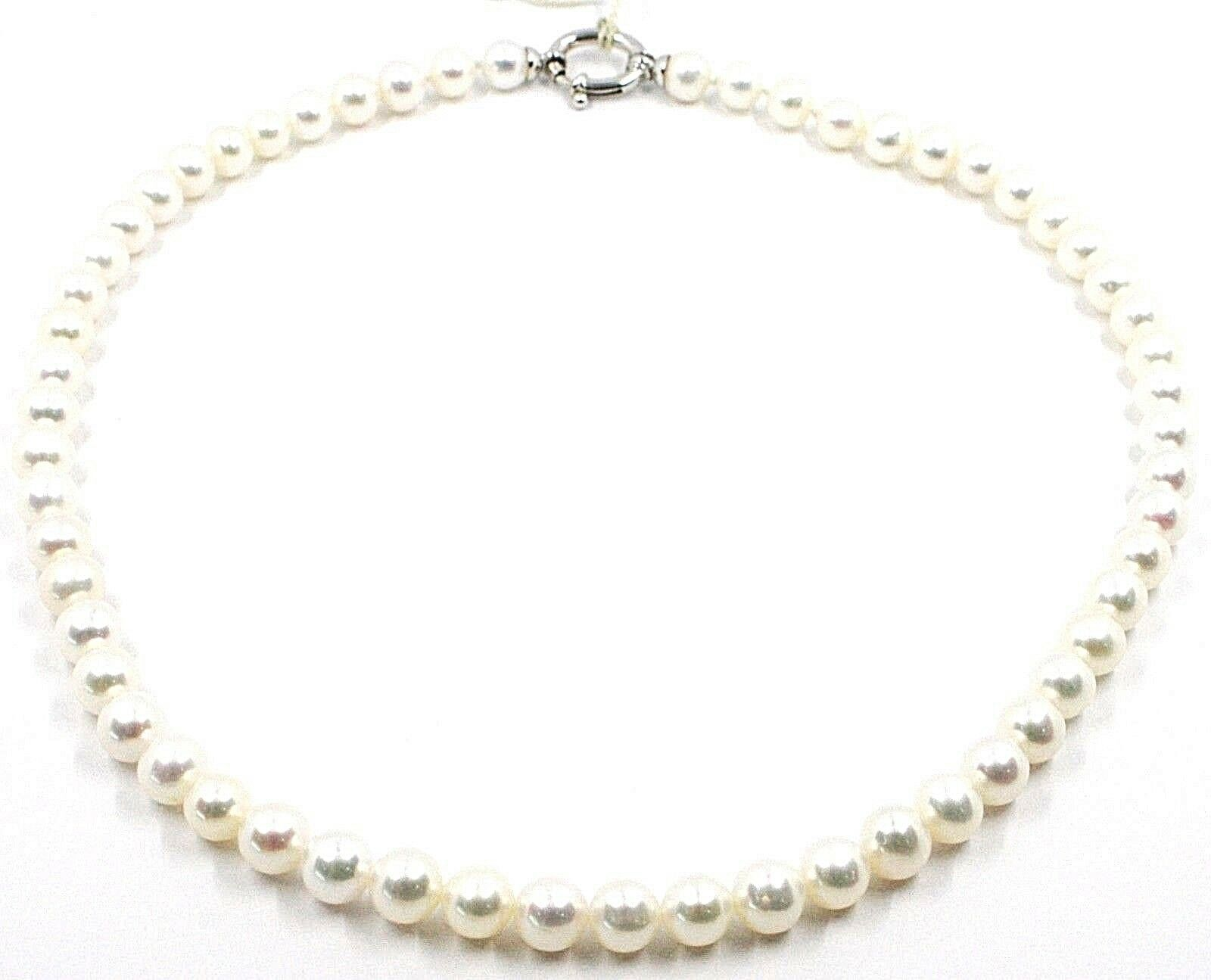 Necklace, Closing Ring Oval White Gold 18K, White Pearls 7-7.5 MM