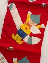 "Vtg Christmas Stocking Felt Pixie Elf Candy Cane 18"" Handmade Red Blue Star - $38.69"