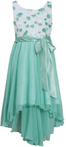 Big Girls Tween 7-16 Aqua Diecut Floral Chiffon High Low Dresss, Bonnie Jean