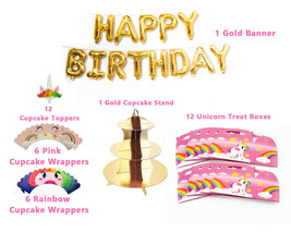 Unicorn Pink and Gold Theme Party Decorations Bundle Pack Party Supplies... - £21.96 GBP