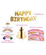 Unicorn Pink and Gold Theme Party Decorations Bundle Pack Party Supplies... - $28.04