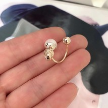 Authentic Christian Dior Mise En Dior Pearl CD Logo Earrings Gold Mint image 6