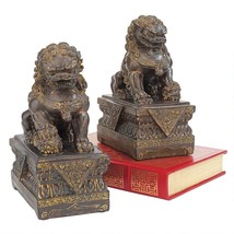 Chinese Guardian Lion Foo Dog Statues Set of 2 Collectible Desktop Home ... - $73.25