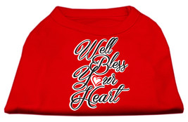 Well Bless Your Heart Screen Print Dog Shirt Red Sm (10) - $11.98