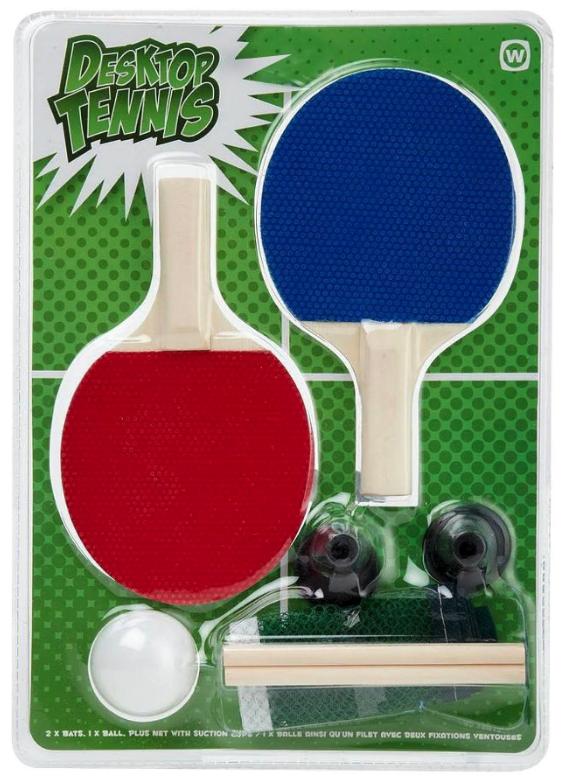 NPW Fun Desktop Mini Table Tennis Ping Pong Set Office Gag Novelty Gift NEW