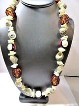 LONG SEASHELL AND CLAY COLORFUL PRETTY BEADED NECKLACE LONG STRAND VINTAGE - $28.00