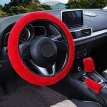 3Pcs Red Winter Steering Wheel Cover Handbrake Car Automatic Cover/Warm ... - $12.18
