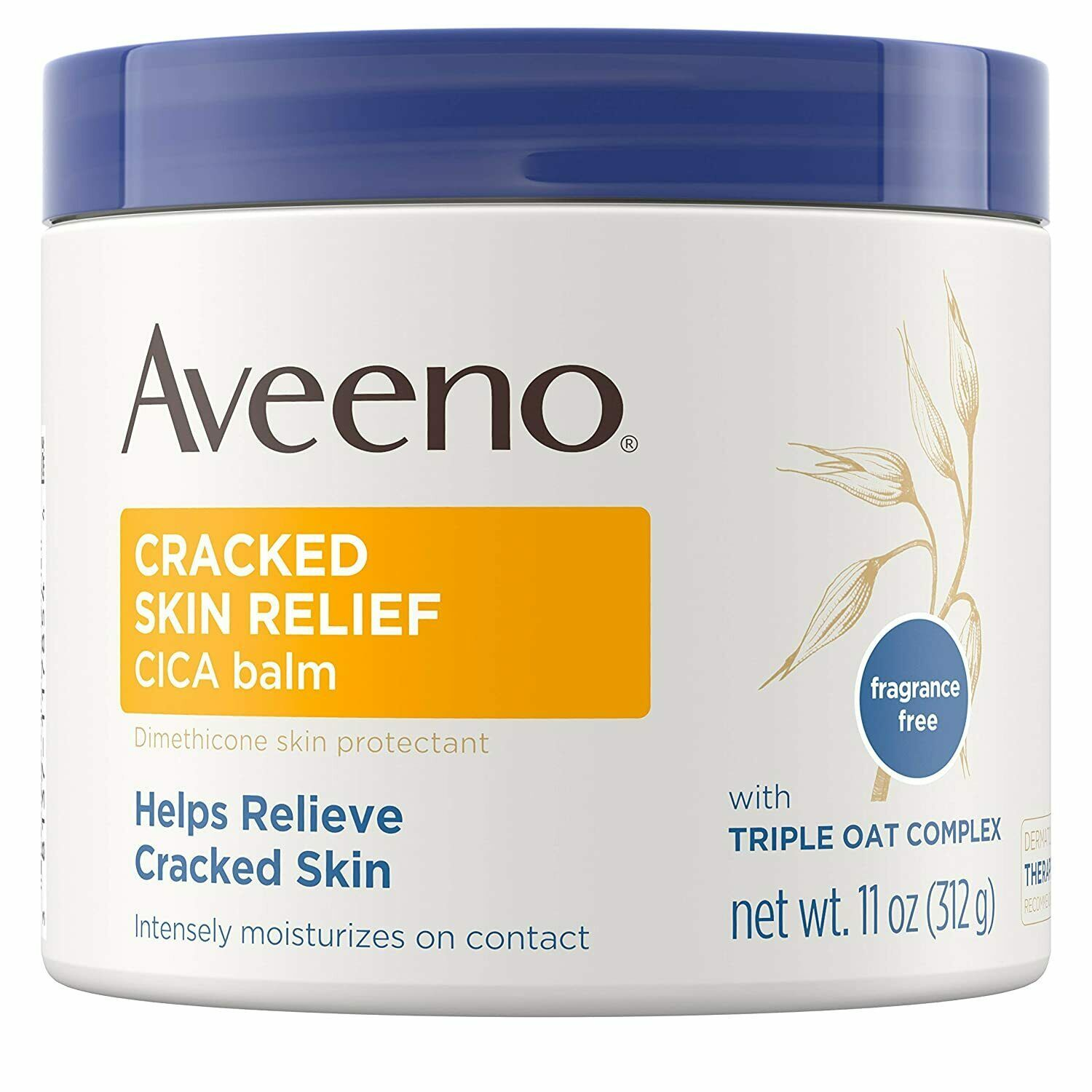 Aveeno Cracked Skin Relief CICA Balm Fragrance Free Triple Oat Complex 11oz - $15.95