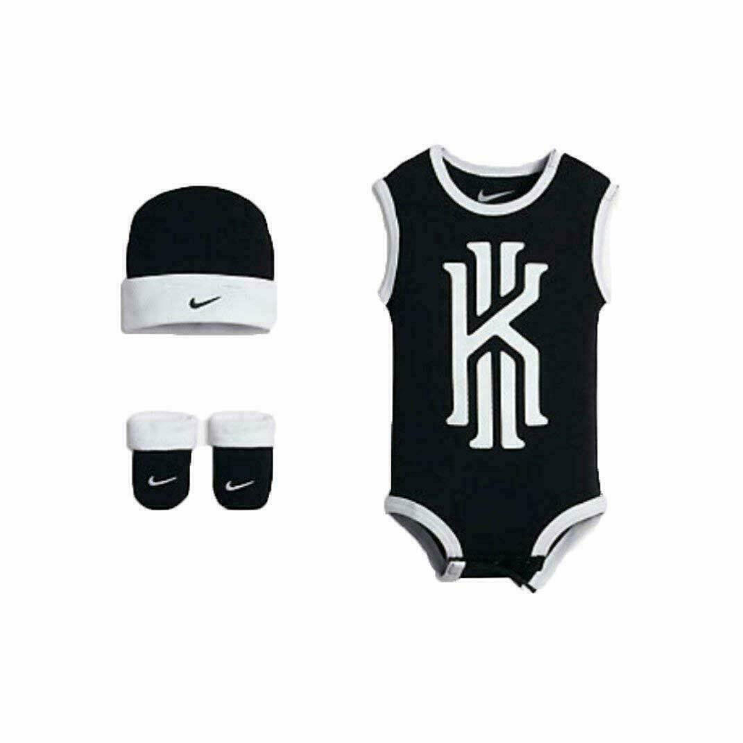 057e6fe7085cd0 Nike Kyrie Irving 3 Piece Bodysuit Cap Booties Baby Gift Set New NIB -   19.79