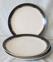 Mikasa Montina 5023 Black Platinum Salad Plate set of 3 - $21.67