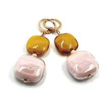 "ROSE EARRINGS ORANGE PINK SQUARE MURANO GLASS PENDANT, 5.5cm 2.2"" ITALY MADE image 1"