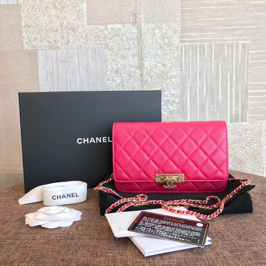 Auth Chanel Hot Pink Caviar Leather Woc