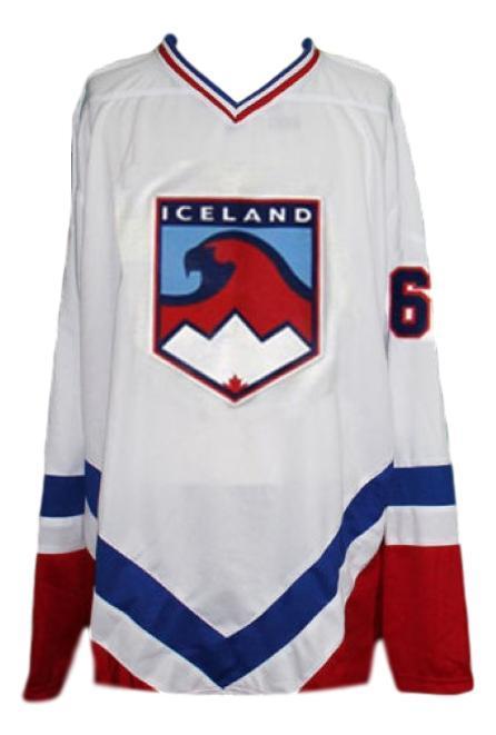 Team iceland new men hockey jersey white any size   1