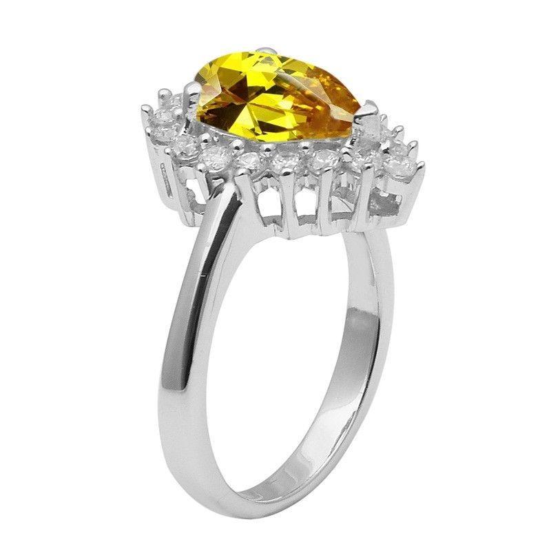 Yellow Cz & White Topaz 925 Sterling Silver Ring Shine Jewelry Size-7.5 SHRI1462