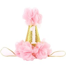 Baby Girl First Birthday Hat Princess 1 St Cake Smash Party Crown (Pink) - $12.24