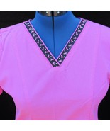 Scrubstar Scrub Top Size Small Cancer Ribbon Trim Bright Pink - $19.99