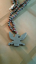 Vintage Trade Bead & Hematite Necklace with Carved Eagle, Natural Stone image 7