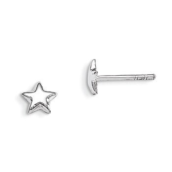 Primary image for Lex & Lu Sterling Silver RH Plated Child's Polished Star Post Earrings