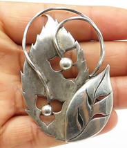 DESIGNER 925 Silver - Vintage Ball Bead Cutout Detail Leaves Brooch Pin ... - $42.63