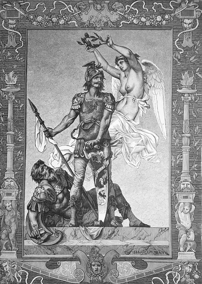 Primary image for NUDE Knight Kills Enemy Soldier Winged Nymph of Victory - 1876 Engraving Print