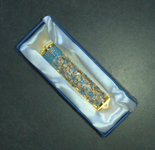 Judaica Mezuzah Case Gold Enamel Decorated Jeweled Aqua Crystals 8 cm Menorah image 6