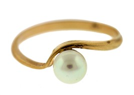 Gorgeous Vintage 14K Yellow Gold Pearl Ring Size:6 - $93.35